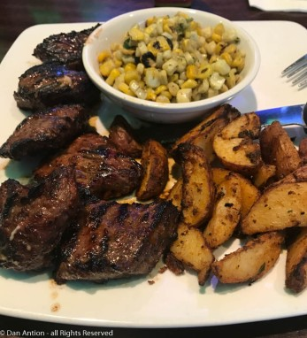 Three favs - steak tips, grilled corn and roasted potatoes