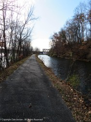 As we approached the railroad trestle, you have a good view of the canal and the river. It's ironic that the railroad needed a separate bridge to cross the canal it was putting out of business.