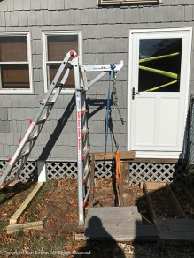 The old steps were anchored to 4x4s that were deep in the ground. This contraption pulled them right out.