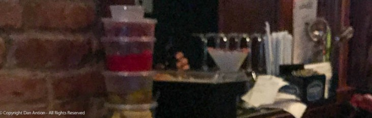 Cheryl's first Peppermintini (from a distance, sorry about the blur).
