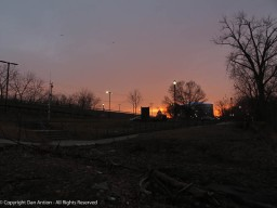Great River Park is ready for winter. The dock has been pulled from the water but the sky is still beautiful.