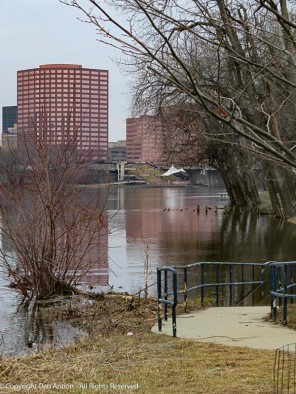 Two days of 67°f (19°c) temps up north caused enough snow melt to push the river over its banks.