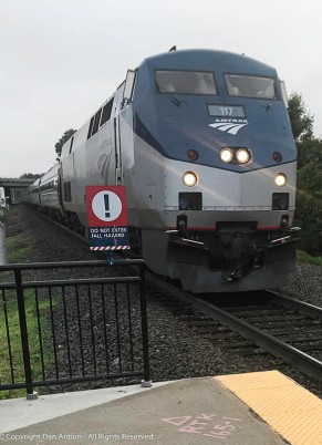 My Metroliner train arriving in Windsor Locks - we don't have a station yet.