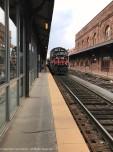 The Hartford Line locomotive rolling into Hartford's Union Station.