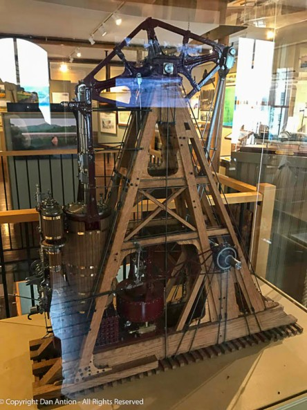 Model of a walking beam steam engine. This was the power plant of most steamships.