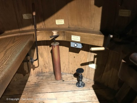 Inside Bushnell's Turtle. Everything, including the ballast pump, and propellers were hand operated by the lone occupant.