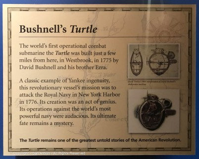 This plaque describes the Turtle better than I can. We still build submarines in CT.