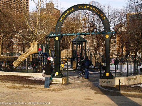 The Tadpole Playground and the Frog Pond are two children's playgrounds inside the Boston Common. I was walking by on my way to catch a train.