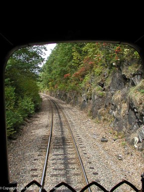 Looking out the back door of the Green Mountain Railroad coach car.