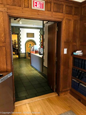 This doorway leads from the living room of the house, which is dedicated to information about the home's original owner, into the museum.