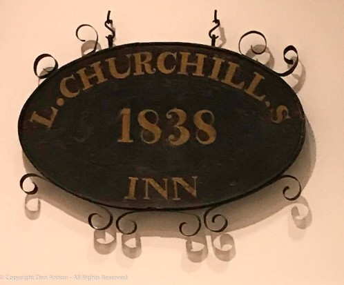 "Text: On both sides, inside top of oval, ""L.CHURCHILL,S"" over """"HEMINGWAY"", inside bottom of oval, ""INN"", over ""TAVERN"", in center of oval, ""1838"" over ""STORE."""