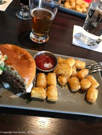 Classic burger and parmesean tater-tots.
