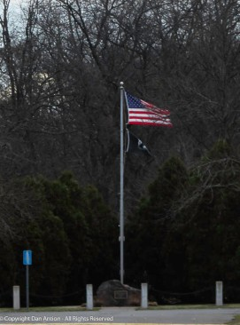 The flag in Veterans Park - windy day