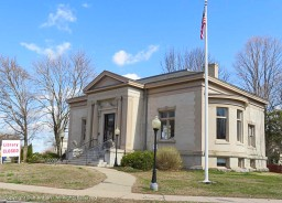 The historic Enfield Library - closed due to the virus - the doors have been replaced with modern material, but the building is beautiful.