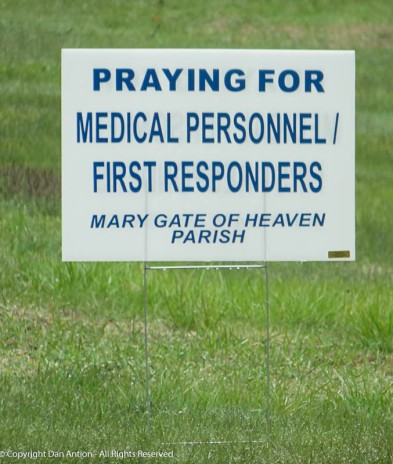 This sign is in the lawn of the church.