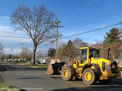 One of our Public Works pay-loaders. He's actually returning to the garage from the leaf dump.