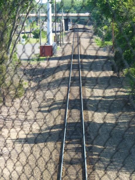 Looking out the back door of AMTRAK 141 as we leave Windsor Locks station/platform.
