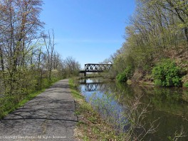 I got there early, so I walked up beyond the bridge, This view is looking south at the bridge over the canal.