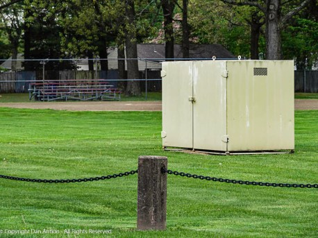 I saw this cabinet being prepared and installed. I believe it's where the main electrical connections for the smaller park are made.