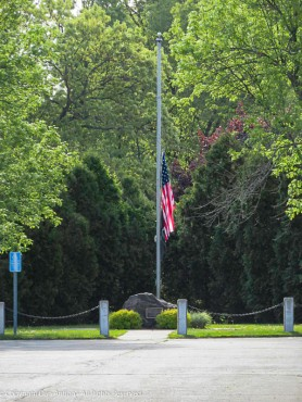 The flags in Connecticut had been at half staff for about six weeks in honor of the Corona virus victims in the state. They returned to full staff on Wednesday when the state began to open. This flag was removed, so it could be replaced.