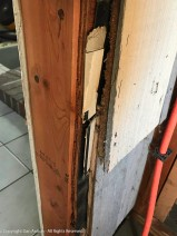 The previous owner was fond of using cardboard instead of shims.