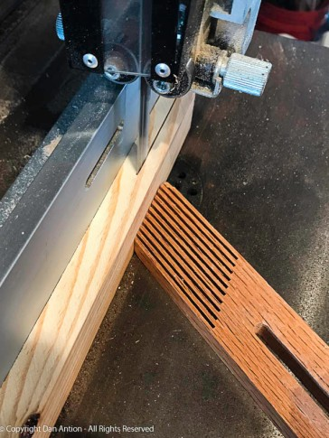 """Two slats are """"resawn"""" from a single board. That makes them about 3/8"""" thick. They are then planed down to 1/4"""""""