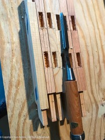 These are the mortises for the side slats. The mortise machine does a nice job, but the mortises need to be cleaned up with a chisel