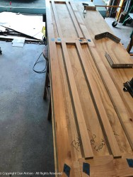 The connecting rails are dry-fit in order to measure the side slats for length.