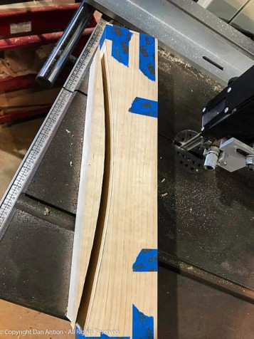 All three have been cut and will remained taped together for sanding.