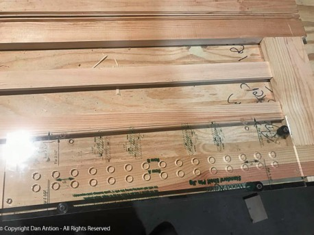 Shelf support jig - This jig lets me drill the holes for the adjustable shelving.