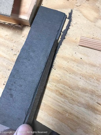 Slate Rabbet - I cut the rabbet on the slate with an angle grinder and I cleaned it up with a square file.