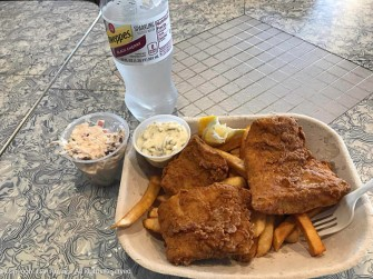 My first meal like a big boy. Fish & Chips - at a table - inside Skooter's