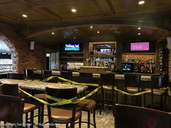 New floor, new table surfaces, spiffy new ceiling and new locations for the TVs.