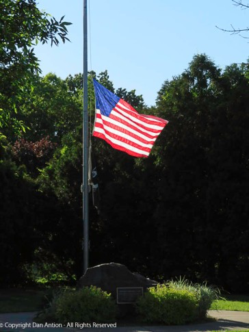 The flag is back at half staff. It was raised over Memorial Day weekend, so the honor procession could lower the flag to half staff for their ceremony.