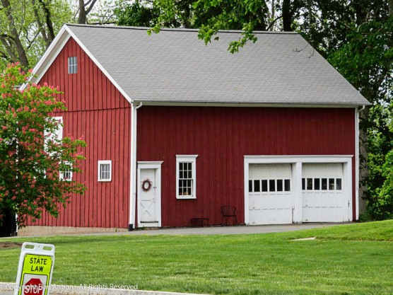 "I know, it's only a garage, but the red and white combination says ""New England"" more than anything."