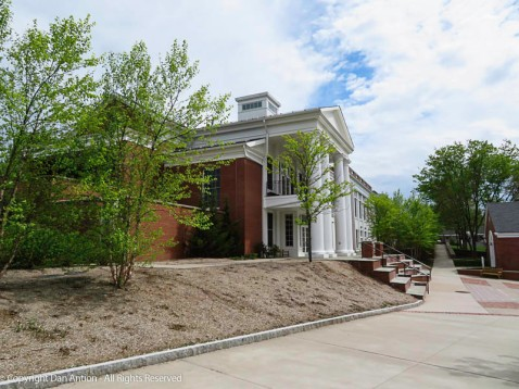One of the newer academic buildings - behind the buildings on the green.