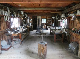 We couldn't enter most buildings but some were open for viewing, This is the interior of the tinsmith's shop.