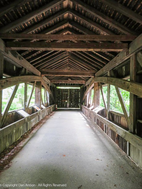 These doors have closed off the far end of the covered bridge.