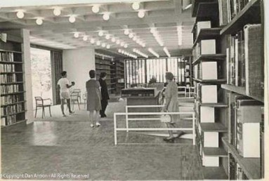 Inside the Kent Library. You can see one of the ramps.