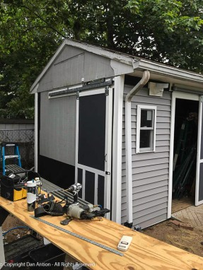 The door has been moved out to accommodate the siding,. We are ready to work on the wall.