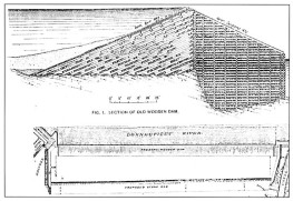 Upper - cross section of the second dam as modified to strengthen and reduce vibration. Lower - proposed location of the third dam.