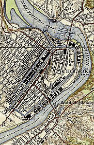 United States Geological Survey, US Department of the Interior. - USGS 7.5 Minute Series, Springfield North, MA Quadrangle, 1938. This image has been cropped to remove extraneous terrain. Permission details