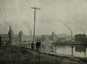 The Albion Paper Mill (left), designed by D. H. & A. B. Tower, and several counterparts on the Third Level of the Holyoke Canal System. 1891