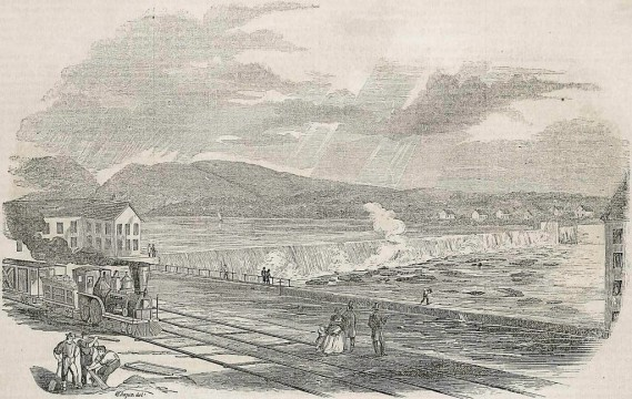 The second Holyoke Dam, as seen the Boston illustrated, Gleason's Pictorial Drawing-Room Companion, in its October 4, 1851 edition