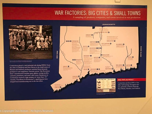 Connecticut was a center of precision manufacturing before the war and continued to supply critical components during the war, including propellers built by Hamilton Standard in my adopted home town of Windsor Locks, CT.