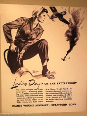 Chance Vought Aircraft promotional poster praising the women among their essential workforce.