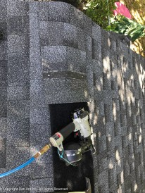 Capping the ridge and covering the ridge vent membrane. It will take 29 of those shingles to get to the other edge,