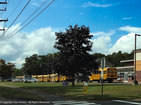 For a small town, we use a lot of school buses. This is an elementary school with grades 3-5.