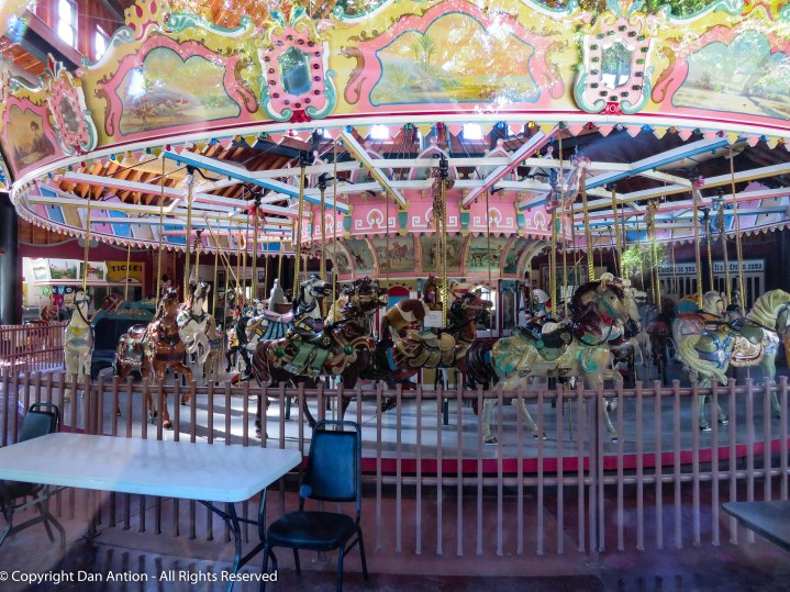 I peek inside the merry go round.