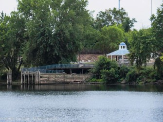 That's Charter Oak Landing, on the west (Hatford) side of the river.